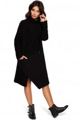 Czarna Asymetryczna Sukienka z Golfem