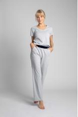 Długie Bawełniane Spodnie do Spania - Jasnoszare