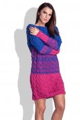 Niebiesko Amarantowa Swetrowa Sukienka w Paski z Fakturą