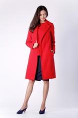 Klasyczny Czerwony Płaszcz z Wiązanym Paskiem