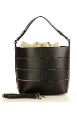 Czarna Torba Skórzana Bucket Letaher Elegante Bag od MARCO MAZZINI