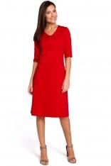 Czerwona Sukienka Midi O Kroju Litery A z Rękawami do Łokcia