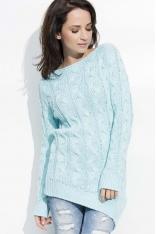 Miętowy Melanżowy Sweter z Ozdobnymi Warkoczami