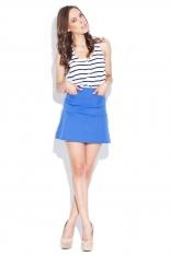 Niebieska Mini Spódnica z Kieszeniami