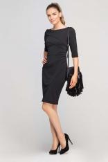 Czarna Sukienka Ołówkowa z Ozdobnymi Przeszyciami