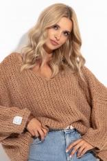 Sweter Z Szerokim Dekoltem V- Brązowy
