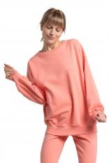 Oversizowa Bluza z Logo Wilka - Koralowa