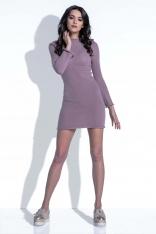 Mocca Sukienka Wełniana Dopasowana Mini