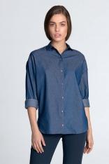Jeansowa Koszula Oversize z Długim Rękawem