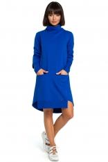 Chabrowa Dresowa Asymetryczna Sukienka z Golfem