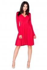 Czerwona Sukienka Rozkloszowana Mini z Dekoltem w Szpic
