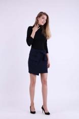 Granatowa Kopertowa Mini Spódnica z Kieszeniami