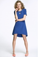 Stylowa Niebieska Sukienka z Łezką przy Dekolcie