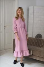 Długa Sukienka z Falbankami - Różowa