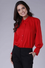 Czerwona Luźna Koszula z Balonowym Rękawem