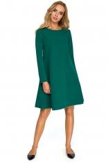 Zielona Wizytowa Trapezowa Sukienka z Szyfonową Wstawką