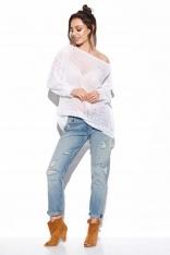 Ażurowy Lekki Sweter Oversize - Biały