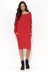Czerwona Sukienka Kimono za Kolano z Kieszeniami