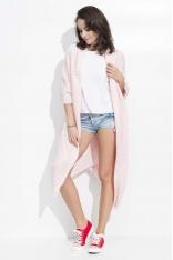 Różowy Długi Sweter-Narzutka z Kieszeniami
