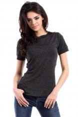 Grafitowy Klasyczny Wiskozowy T-shirt z Krótkim Rękawem