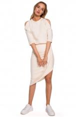 Asymetryczna Sukienka z Wycięciami na Ramionach - Śmietankowa