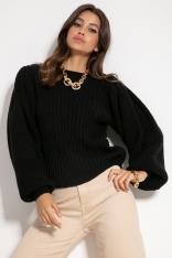 Czarny Sweter w Prążki z Bufiastym Rękawem