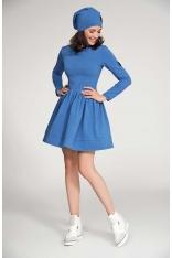 Niebieska Sukienka Dresowa z Szerokim Dołem