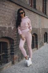 Wygodny Dres Krótka Bluza z Kapturem i Wąskie Spodnie - Różowy