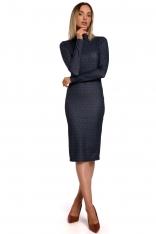 Wzorzysta Ołówkowa Sukienka z Półgolfem - Model 3