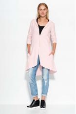 Asymetryczna Różowa Długa Bluza z Kapturem