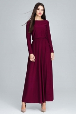 Bordowa Zwiewna Sukienka Maxi z Podkreślona Talią