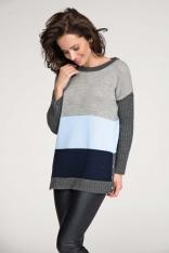 Błękitono Granatowy Klasyczny Trójbarwny Sweter z Zatrzaskami na Boku