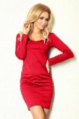 Czerwona Sukienka Dopasowana z Długim Rękawem