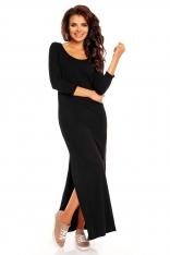 Czarna Maxi Sukienka z Dekoltem na Plecach
