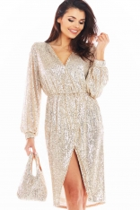 Cekinowa Sukienka Zakładana Kopertowo - Beżowa