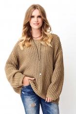 Orzechowy Oversizowy Sweter Wykonany Angielskim Ściegiem
