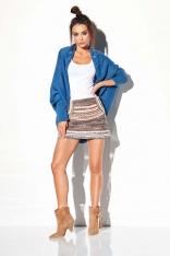 Jeansowy Nietoperzowy Sweter z Ozdobnym Brzegiem