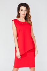 Czerwona Asymetryczna Tunika - Bluzka z Biżuteryjną Wstawką