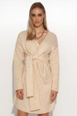 Nietuzinkowy Moherowy Sweter z Wiązaniem - Beżowy