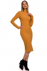 Ołówkowa Sukienka z Półgolfem - Musztardowa