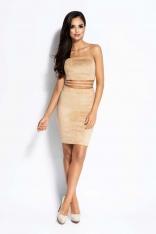 Kamelowa Sukienka Gorsetowa Dopasowana Mini z Wcięciami