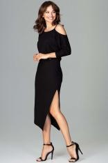Czarna Asymetryczna Sukienka z Kimonowym Rękawem