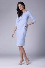 Błękitna Stylowa Sukienka Ołówkowa z Ozdobnymi Guzikami
