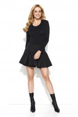 Czarna Rozkloszowana Mini Spódnica z Wysokim Stanem