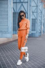 Dresowy Komplet Nierozpinana Bluza i Dopasowane Spodnie - Pomarańczowy