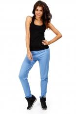 Niebieskie Dresowe Spodnie z Dzianiny