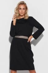 Sukienka z Błyszczącym Pasem - Czarna