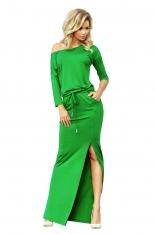 Zielona Dzianinowa Maxi Sukienka w kwiaty z Rozporkiem