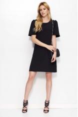 Czarna Sukienka Trapezowa z Kloszowanym Rękawem