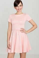 Rozkloszowana Sukienka z Krótkim Rękawem - Różowa